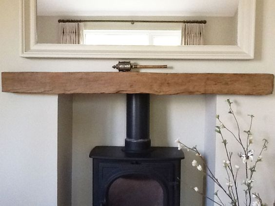 A Reclaimed Oak Beam Fireplace Lintel Housing A Wood Burning Stove Kelly House Pinterest