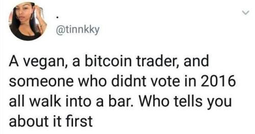 vegan bitcoin trader