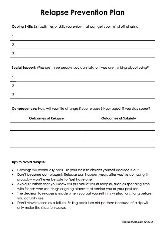 free worksheets for recovery relapse prevention addiction women ...