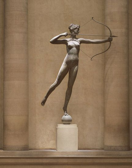 Diana by Augustus Saint-Gaudens, is poised at the Great Stair Hall Balcony, second floor of the Philadelphia Museum of Art. (Credit: Philadelphia Museum of Art)