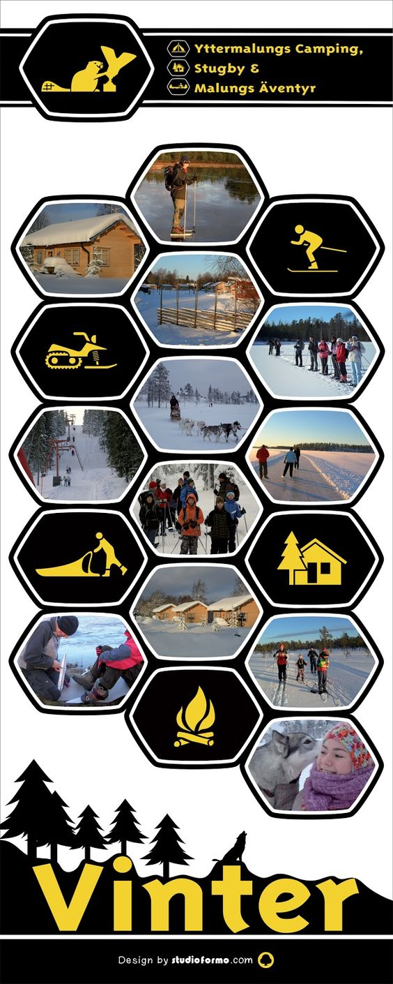 Swedish winter, a banner for an adventure sports camping