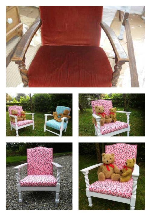 Before and after of an antique low chair for my daughter - now covered with Designers Guild's Primrose Hill fabric