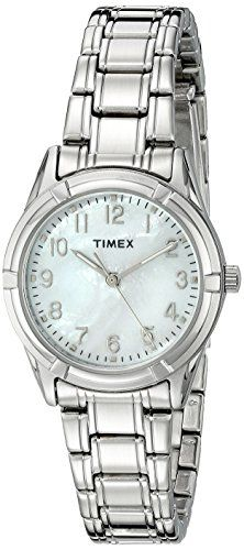 Timex Women's TW2P760009J City Collection Analog Display Quartz Silver Watch. Modern, Stylish Design. Genuine Mother of Pearl Dial.