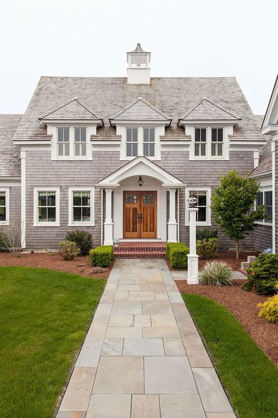 Classic cape cod exterior double doors stone walkway for Cape cod front door