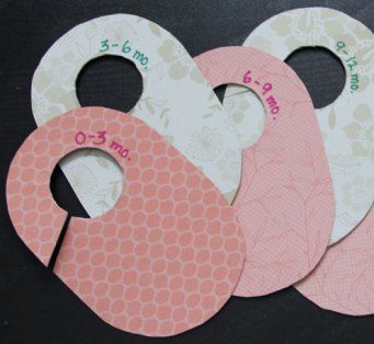 Give the NEW MOM in your life these! Hand made closet organizer dividers! Super easy to make with scrapbooking paper and simple supplies! Keep those baby clothes organized!
