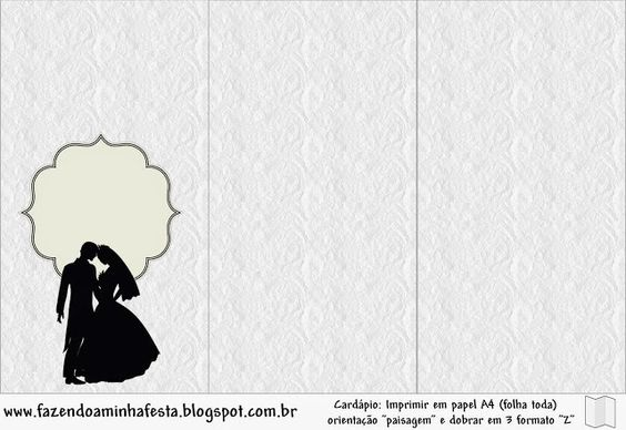 Cute Wedding Couple Silhouette Free Party Printable.