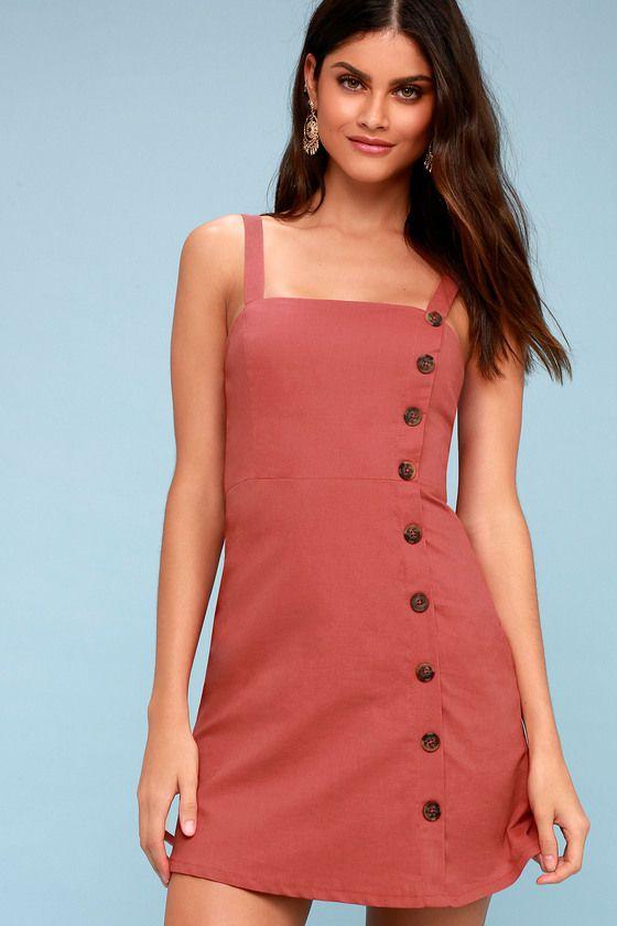 Lulus | Louetta Rust Red Button-Down Mini Dress | Size Small