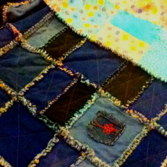 Juju's quilt for Kenya made from flannel to match her room & the whole family's old jeans.
