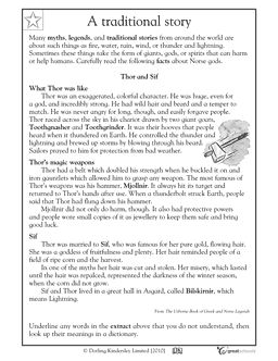 Printables 4th Grade Reading Comprehension Worksheets Students activities comprehension and reading worksheets on pinterest thor sif this is a myth about norse god named in writing worksheet students will rea