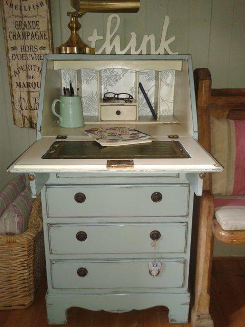 Vintage shabby chic painted bureau writing computer desk for Computer bureau