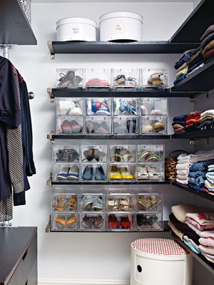 20 secrets of extremely organized people = closet, organizing, clean, labeled: Closet Makeover, Clear Boxes, Home Decorating Ideas, Shoe Organization, Shoe Storage, Clear Shoeboxes, Organized Closets