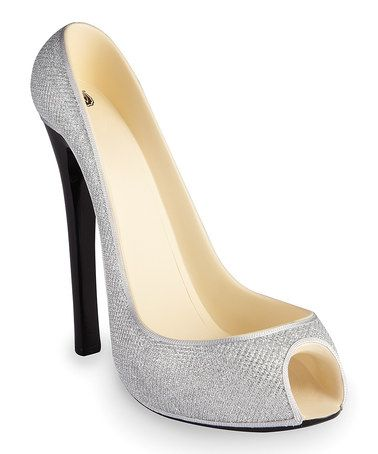 Another great find on #zulily! Silver Glitter High Heel Wine Bottle Holder #zulilyfinds
