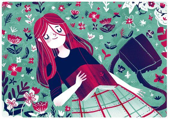 Placeres del verano: lectura y descanso (ilustración de Giovana Mediros):