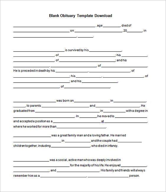 30 Free Download Obituary Template Sample Obituaries Template