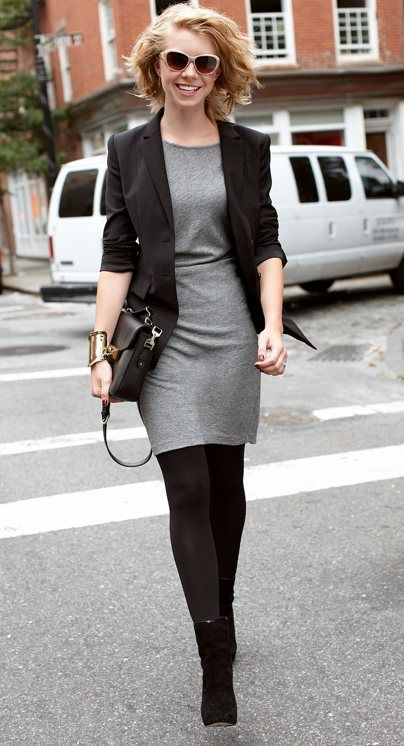 For my short grey dress. Black tights. Office attire. Black blazer. Black boots. Black messenger bag. Statement gold bangle.: