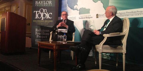"#Baylor President Ken Starr hosted prominent Harvard Law professor Alan Dershowitz for an ""On Topic"" discussion on religious freedom in March 2014."
