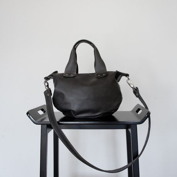charcoal leather bag
