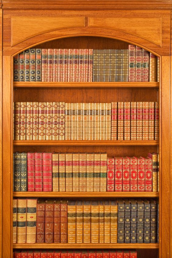 A collection of leather-bound antique books