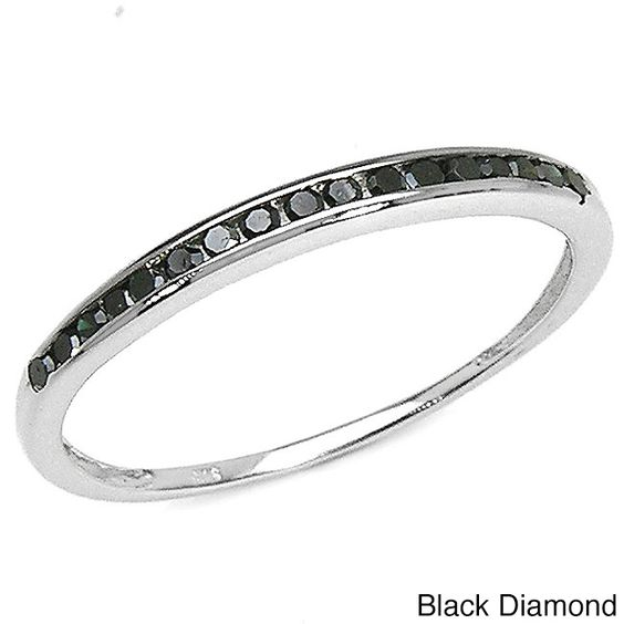 Shiny sterling silver jewelryChic black or blue diamond ringClick here for Ring Sizing Chart.