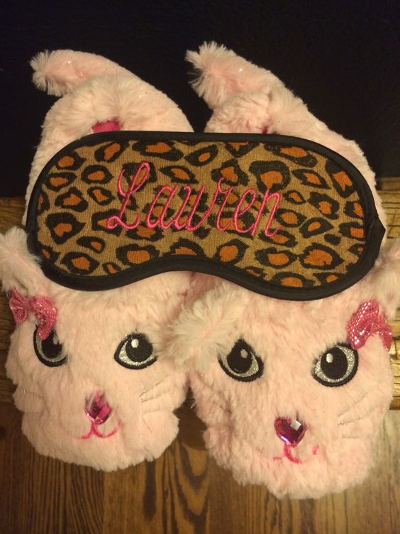 Lauren's 3rd Birthday party favor. Slippers with monogrammed sleep masks.