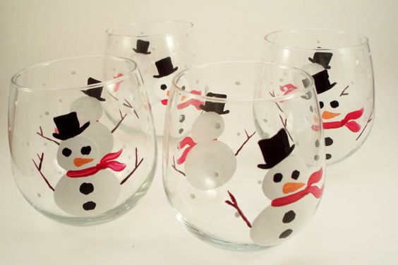 Snowman  winter holiday painted wine glasses stemless by RaeSmith, $62.00