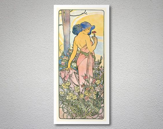 Les Fleurs IV Flowers by Alphonse Mucha 1898  Poster by WallsNeed