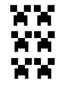 """JPEG of """"Creeper"""" face printouts. I cut these out and glued them on green drinking cups to decorate table with. Use with black square paper plates, green tablecloth... and your table looks festive for any Minecraft Birthday party."""
