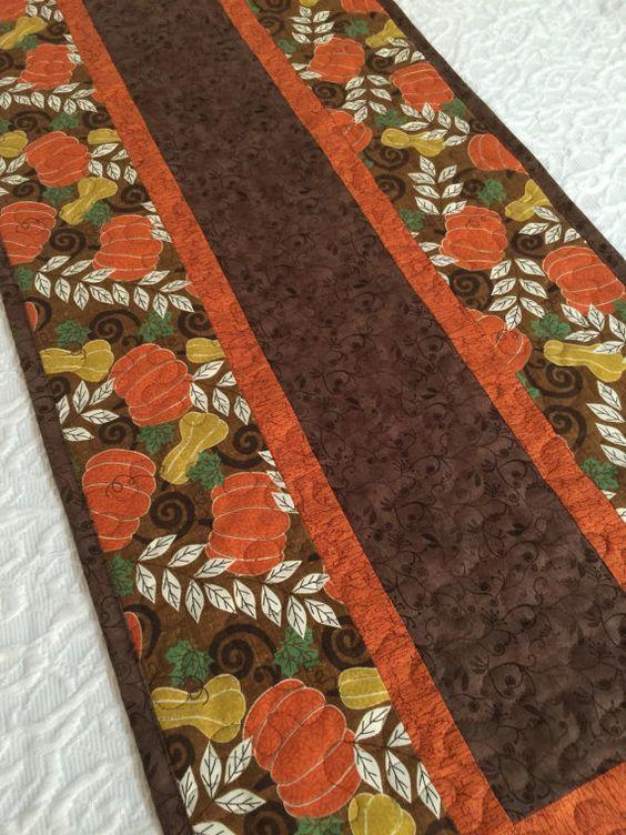 Fall Pumpkin Table Runner Quilt Brown Orange by KeriQuilts