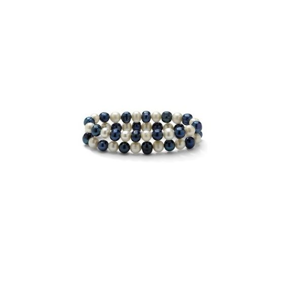 Set of Two Navy Blue and White Cultured Freshwater Pearl Bracelets ❤ liked on Polyvore