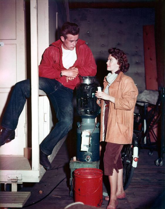 James Dean and Natalie Wood on the Rebel Without A Cause set.
