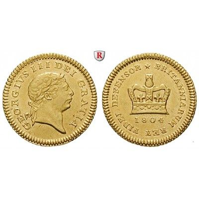 Grossbritannien, George III., 1/3 Guinea 1804, 2,63 g fein, vz: George III. 1760-1820. 1/3 Guinea 2,63 g fein, 1804. S. 3740; GOLD,… #coins