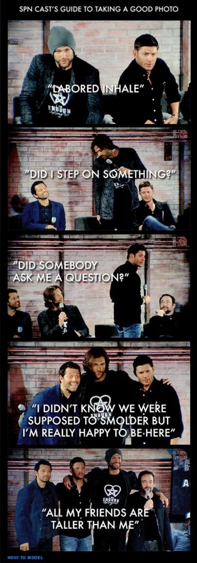 SPN CAST'S GUIDE TO TAKING A GOOD PHOTO ... LOL ^_^ <3 The cast of Supernatural are like professional models.