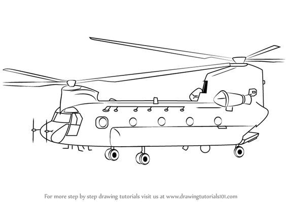 Military Things To Draw Learn How To Draw A Boeing Ch 47 Chinook
