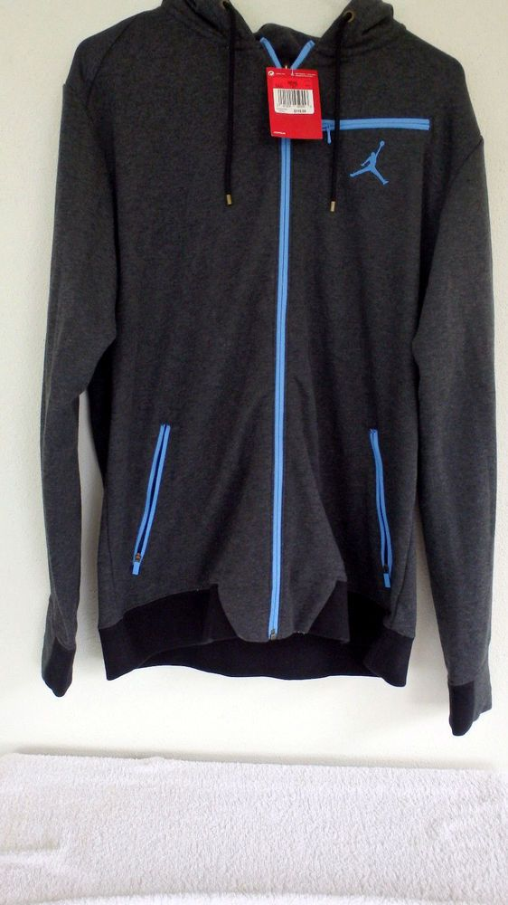 michael air jordan jumpman full zip hoodie charcoal blue. Black Bedroom Furniture Sets. Home Design Ideas