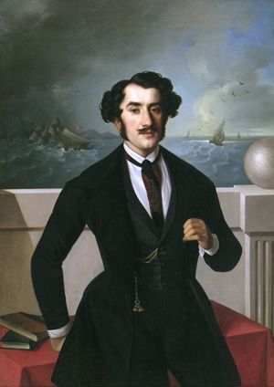 Portrait of Cristofaro Popovich by Giuseppe Tominz (Italian 1790-1866)...as can be guessed from the background, Popovich was a  captain in the Venetian navy....: