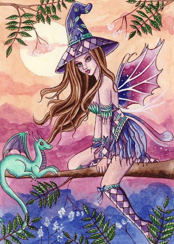 Witch Art Print - Rowenia - 8 x 10 Fantasy Art Print - by Nikki Burnette