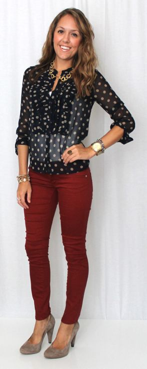 ...<3 this outfit and the colors together... Burgundy Jeans, Polka Dot Blouse, Tan/Taupe Pumps (J's Everyday Fashion)....