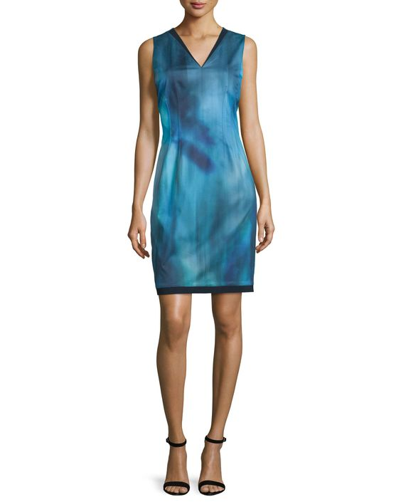 Emory Sleeveless Printed Sheath Dress, Dark Refresh - Elie Tahari