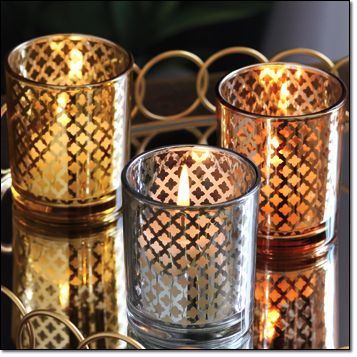 Autumn Romance Tea Light Holders Set of 3