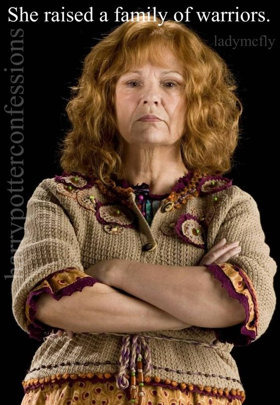 Mrs. Weasley gained a lot of my respect throughout the series.  She really must have been an amazing mother to have raised so many loyal and fearless children.: