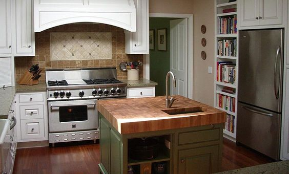white kitchen with wooden counter tops   White Oak Wood Countertops, butcher block countertops, bar tops