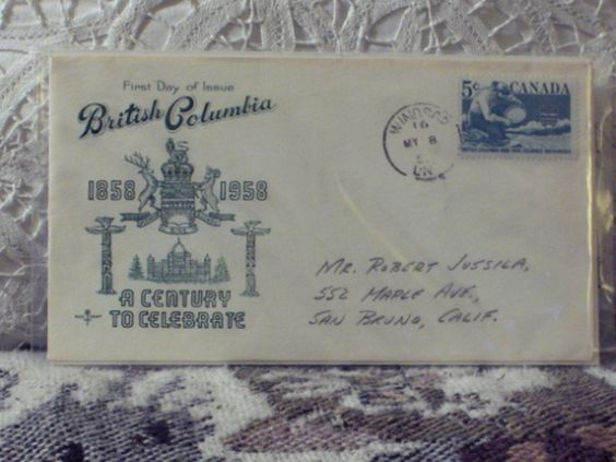 http://ajunkeeshoppe.blogspot.com/   First Day Issue/Cover-Stamp-B.C. Canada 1958 5c 8ozP724B4HP1186