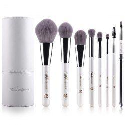 Cosmetic 8 Pcs Bamboo Charcoal Fiber Makeup Brushes Set with Brush Holder (WHITE) | Sammydress.com Mobile