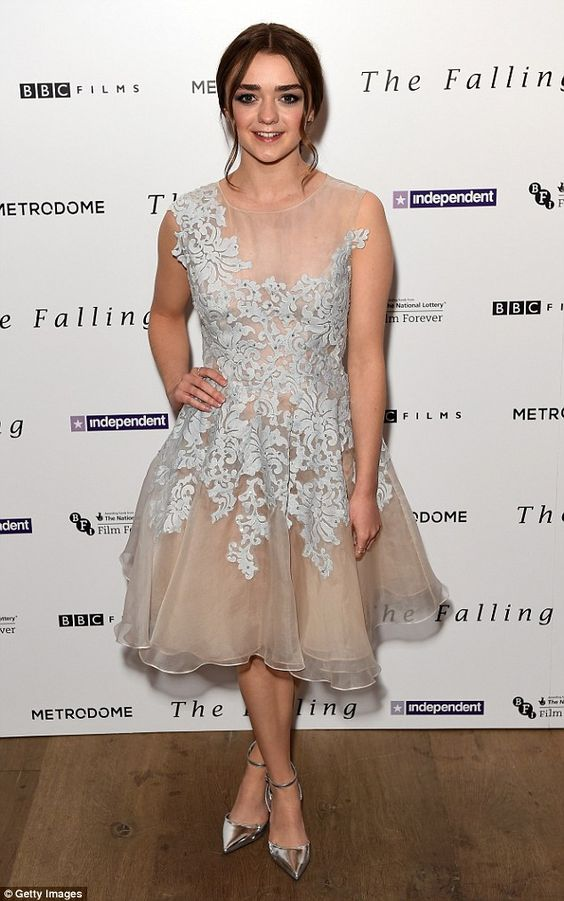 Pretty in a prom dress: Maisie Williams attends the screening of her new film The Falling ...