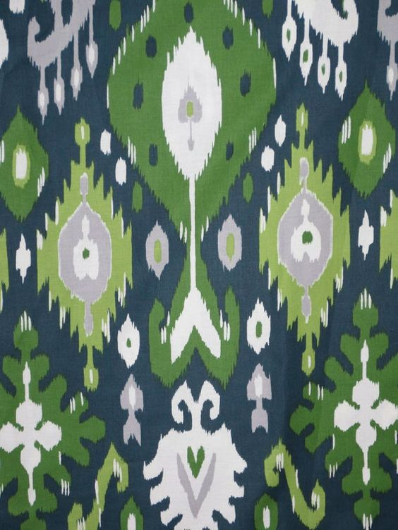 Remnant Emerald Green Navy And Gray Ikat Print Pure