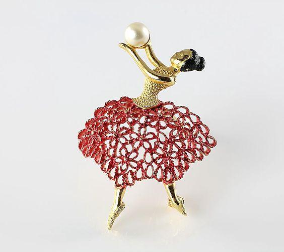 Vintage Mamselle Ballerina brooch red enamel skirt. 24.00, via Etsy.