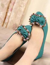 Lovely Metal Chain Bow PU Womens Flat Ballet Shoes  $19.99