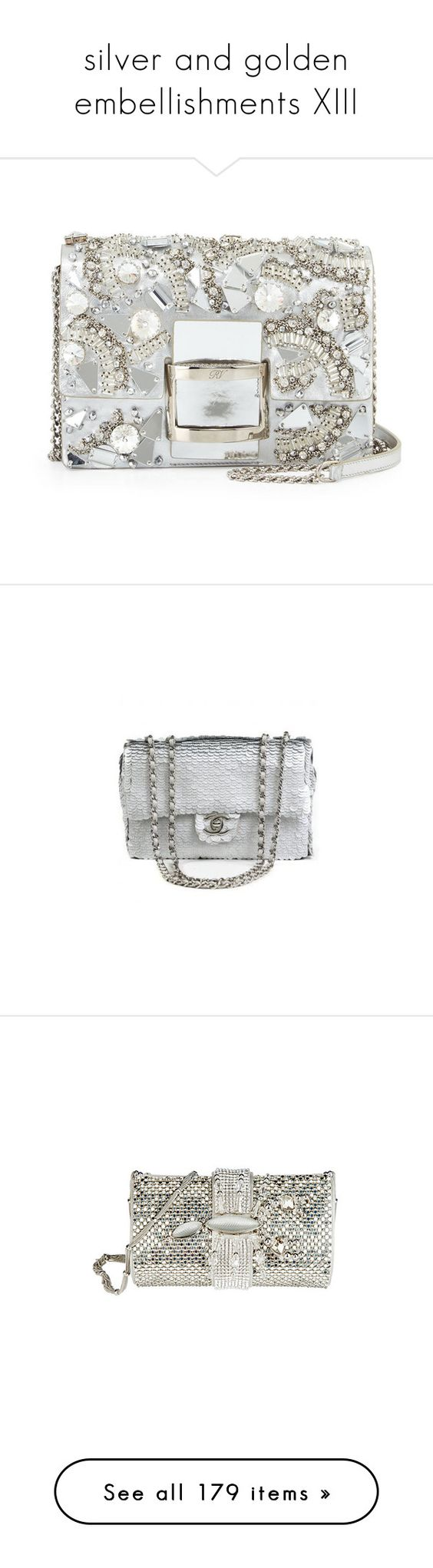 """""""silver and golden embellishments XIII"""" by cielle-eh-eh ❤ liked on Polyvore featuring bags, logo bags, hardware bag, white bags, j.w. anderson, anchor bag, handbags, shoulder bags, metallic and white leather handbags"""