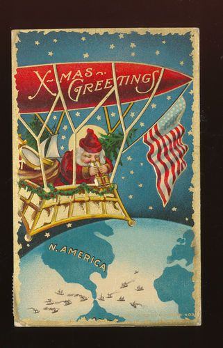 Santa Claus in Balloon with Flag Over America Antique Christmas Postcard HHH80 | eBay