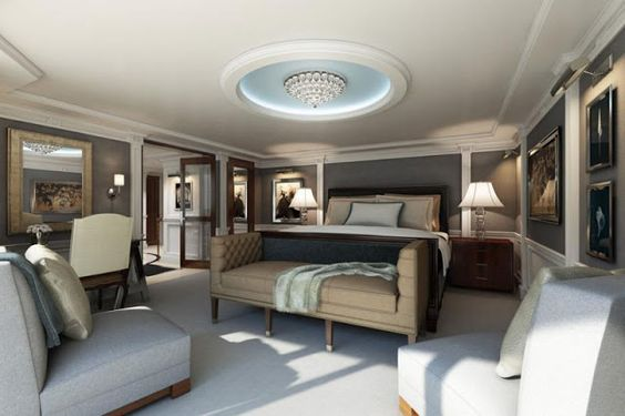 Luxury suite with Furniture by Ralph Lauren, for Oceania Cruise Line